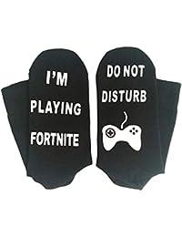 """AOLVO """"Do Not Disturb I'm Playing For Nite Calcetines de Algodón Divertidos Calcetines Suaves y Cálidos Calcetines de Tripulación Creativa Novedad Gamer Regalo para Amantes del Juego 1 Par"""