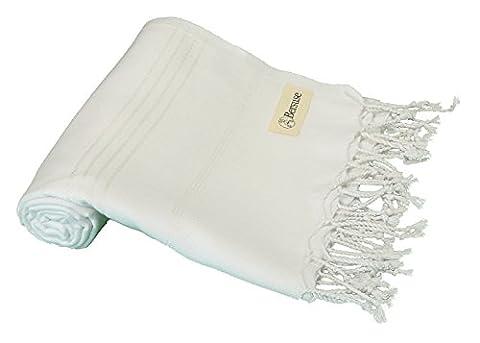 Bersuse 100% Baumwolle - Anatolia Türkisches Handtuch - Badestrand Fouta Peshtemal - Klassisches gestreiftes Pestemal - 95 X 175 cm, Weiß