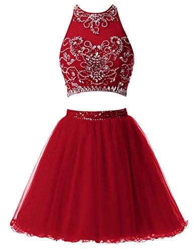 Dresstells Robe courte de soirée de cocktail Robe de bal emperlée deux pièces Rouge Foncé
