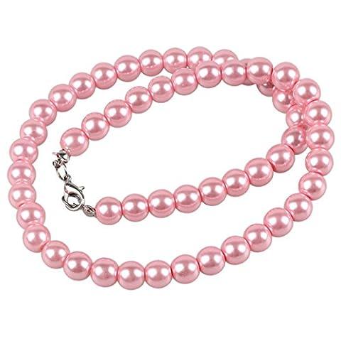 Collier Femmes - TOOGOO(R) Dames rose Uniforme fausse perle Fermoir a homard collier bijoux