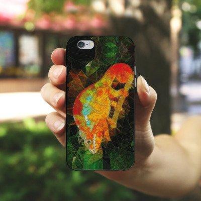 Apple iPhone X Silikon Hülle Case Schutzhülle Chamäleon Echse Muster Silikon Case schwarz / weiß
