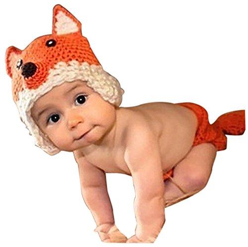 AKAAYUKO Neugeborenes Baby Handgemachtes Häkeln Gestricktes Foto Fotografie Kostüm (Fox) (Orange Fox Kostüm)