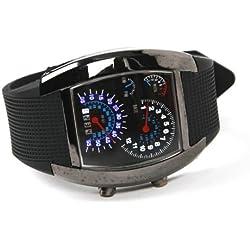 TOOGOO(R) Blue LED Light Aviation Pilot Speedometer Dash Men's Binary Digital Wrist Watch