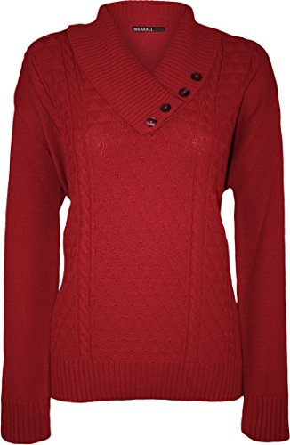 WearAll - Taille Plus Bouton col V à manches longues Pull Top - Pullover - Femmes - Tailles 42 à 48 Rouge
