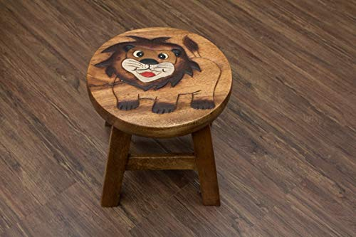 Buddha Art Lounge Kinderhocker, Holz, Löwe, Stuhl, Hocker, Massiv, Kinderstuhl, Löwenmotiv, Sitzgruppe für Kinder, Schemel, Tiermotiv, Rund, Klein, Kinder, Natur, Handarbeit aus Thailand