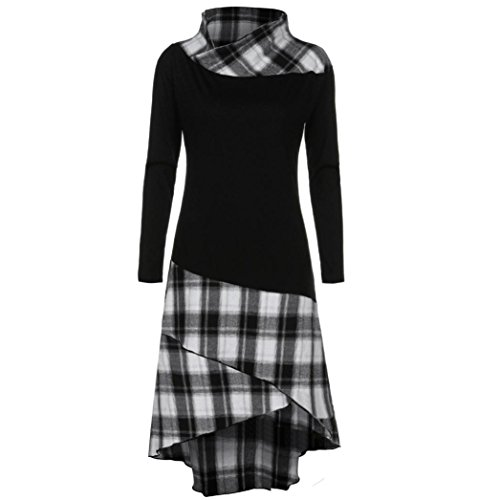 Damen Kleid,DOLDOA Frauen High Neck Plaid Muster Patchwork Langarm Kleid (EU: 44, Schwarz,Plaid Patchwork Langarm Kleid) (Rock Doppel-breasted)