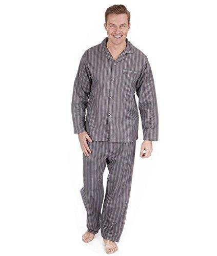 Uomo spazzolato 100puro% pigiama di cotone caldo per l' inverno flanella termale m l xl xxl grey stripe xxx-large