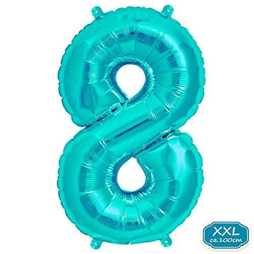 on Zahl [ca.100cm], Blau Luftballon Zahlen für Geburtstag Jubiläum & Party Geschenk partydeko Folienballon Zahlen Luftballons Happy Birthday ( 0-9 ) (Blau [ 8 ]) ()