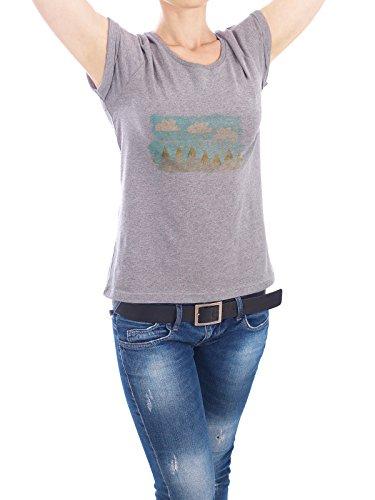"""Design T-Shirt Frauen Earth Positive """"Schneeberg I"""" - stylisches Shirt Abstrakt Natur von Mia Nissen Grau"""