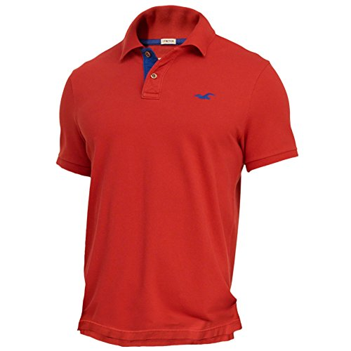 hollister-mens-stretch-contrast-pique-polo-shirt-tee-size-l-red-623321652