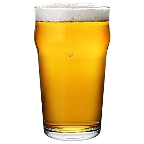 Nonic Oversize Pint Glasses 23oz CE Lined at 20oz - Case of 36 - Giant Nonic Glasses, Draft Beer