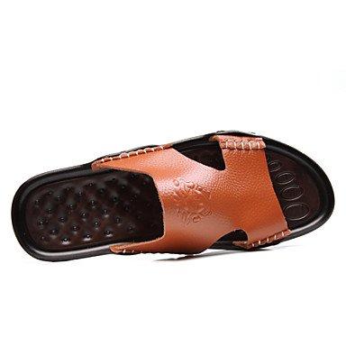 Sommer Sandalen Herrenschuhe legere Leder Hausschuhe, Schwarz/Blau/Gelb Schwarz