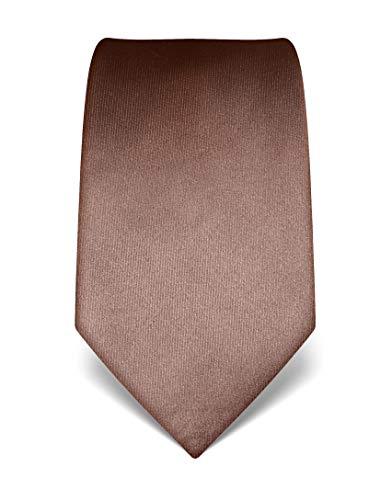 Vincenzo Boretti Herren Krawatte reine Seide uni einfarbig edel Männer-Design zum Hemd mit Anzug für Business Hochzeit 8 cm schmal/breit braun
