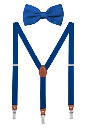 DEBAIJIA Schick Hosenträger mit Fliege Etui Damen Herren Jugendliche Suspenders Retro 3 Clips Elastisch Gürtel Längeverstellbar 155-180 Körperhöhe - Königsblau