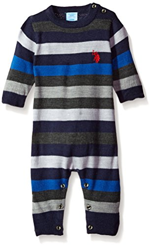 U.S. Polo Assn. Baby Boys' French Terry Romper, Blue, 3/6 Months (Polo Baby Us)