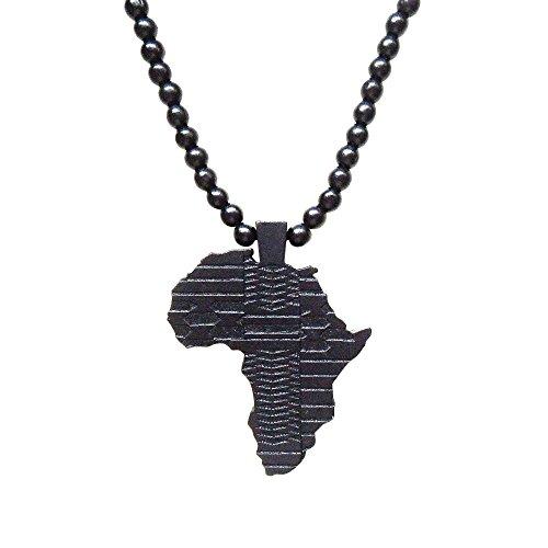 Hanessa Schwarz Damen u. Herren Schmuck.Africa Perlen Halskette , Land-Karte Afrika aus Holz