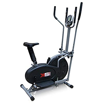 Pro XS Sports 2-in1 Elliptical Cross Trainer Exercise Bike-Fitness Cardio Weightloss Workout Machine-With Seat + Pulse Heart Rate Sensors from XS Sports