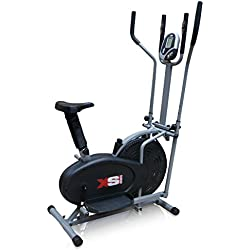 XS Sports Pro 2-in1 Elliptical Cross Trainer Exercise Bike-Fitness Cardio Weightloss Workout Machine-With Seat + Pulse Heart Rate Sensors