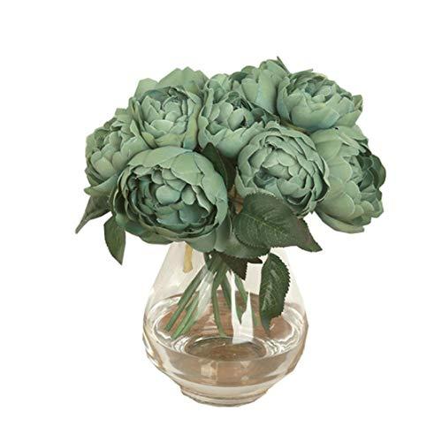 Happy event Bouquet de fleurs artificielles avec 6 pots de fleurs de pivoine Fleurs artificielles Décoration de fleurs artificielles Mariage Bouquet de fleurs de mariage pour la maison de jardin