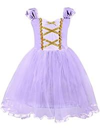 AmzBarley Princesa de Las Muchachas Rapunzel Vestirse Costume Cosplay  Vestidos de Fiesta para Niños Pequeños 5392adc74147