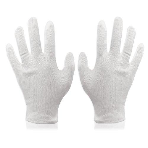 guanti cotone Foxnovo 8 Paia Guanti di Cotone bianco da lavoro leggero morbido guanti formato libero