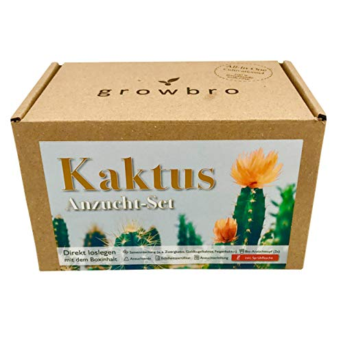 growbro Kaktus Kakteen Mischung | Anzuchtset inkl. Sprühflasche | Geburtstagsgeschenk, Sukkulenten, Geschenke für Frauen & Männer, Gastgeschenk, Zimmerpflanzen, Cactus, Vatertag