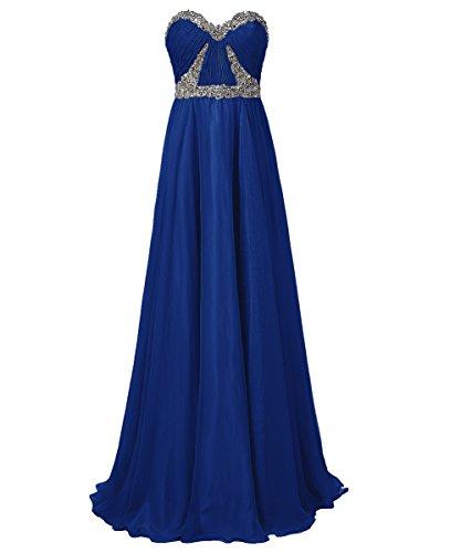 Dresstells, Robe de soirée Robe de cérémonie Robe de gala mousseline bustier en cœur longueur ras du sol avec paillettes Bleu