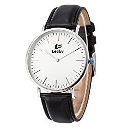 LeeEv Fashion Wristwatch Japanese Quartz Movement Stainless Steel Case Leather Band Analog Casual Watch (Men White Colour)