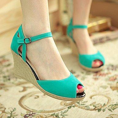 LQXZM Chaussures pour femmes / Heel Wedges Heels / Peep Toe talons Sandales / Piscine / Robe décontractée / noir / bleu / rouge / amande/1327 Blue