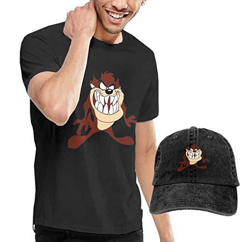 NOT Tasmanian Teufel Taz Looney Tunes Herren Kurzarmhemd Und Hut Baumwolle Klassischer Druck Konventioneller Rundhals TopSchwarz XL