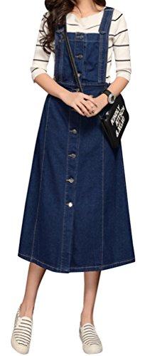 Yasong Women Girls Long Suspender skirt Denim Dungarees Dress Pinafore