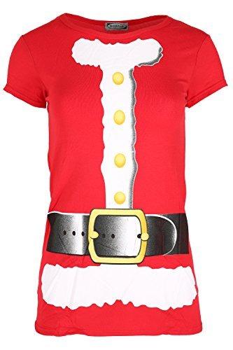Damen Weihnachten T-shirt Damen Langärmlig Weihnachten Weihnachtsmann Kostüm Jerseykleid Top Weihnachtsmann Kostüm Flügelärmel
