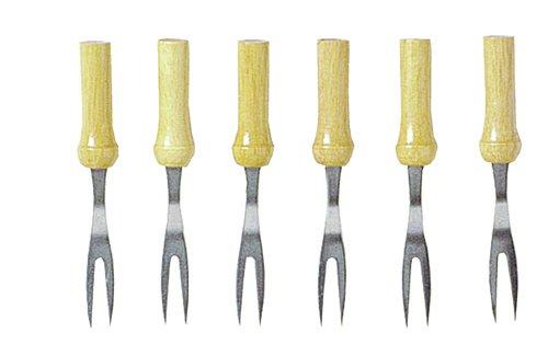 Set von 6 MAISKOLBEN Anleger Eigentümer Gabel mit Holzgriff