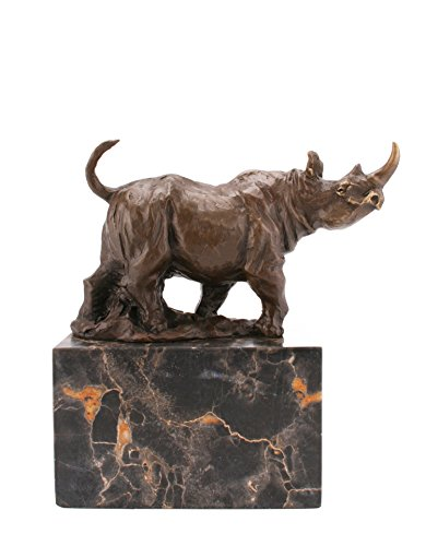 Bronzo rinoceronte in piedi su base in marmo, firmato Milo