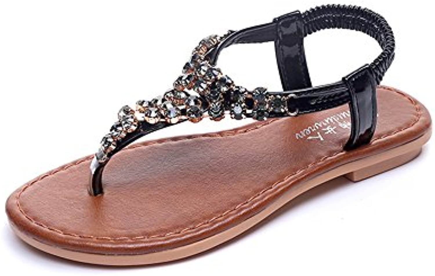 3916f0bdc3c Sandals ZHIRONG Women s Clip Toe Rhinestone (Color... T-Strap Bohemia  Bohemia Roman Parent Summer Beach Post Flip Flops Flat Shoes (Color.