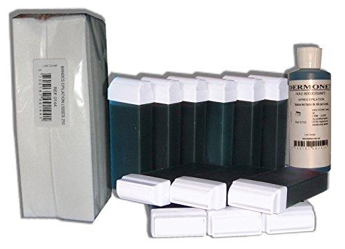 Storepil - Réassortiment de cire à épiler 12 recharges + 250 bandes + huile - CHLOROPHYLLE pour épilation
