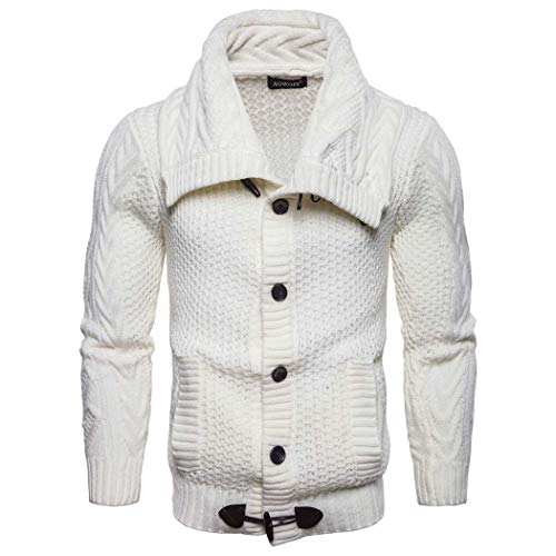 Adong Jugend Männer Solid Color Knit Cardigan Fashion Trend Sweater Coat,White,M