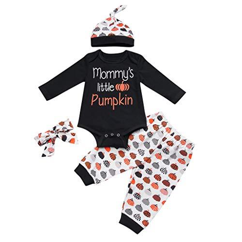 Jaysis Säugling Halloween Brief drucken Strampler + Kürbis Pant + Hut + Stirnband Outfit Kinderkleid Festlich Kommunionkleid Partykleid Baby Unisex 4Pcs Kleidung Set