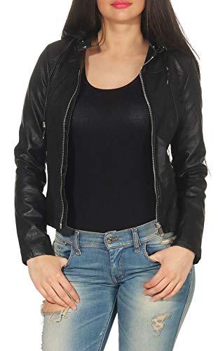 Malito Damen Jacke | Kunstleder Jacke | lässige Jacke mit Kapuze | Jacke mit Zipper - Faux Leather 5175 (schwarz, S)