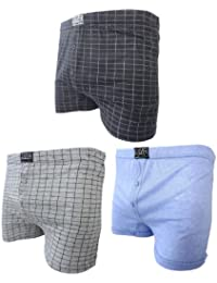 6 PACK Mens Boxer Shorts Check Plain