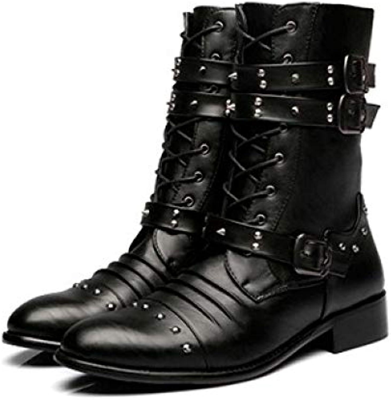 FHCGMX Stivali Casual da Uomo alla Moda Stivali da da da Donna in Pelle Antiscivolo di Alta qualità Stivali da Moto... | Colori vivaci  f6f2a9