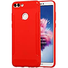 Huawei P Smart Case, [ Danallc ] Shockproof Back Cover Cover Shell for Huawei P Smart - Red