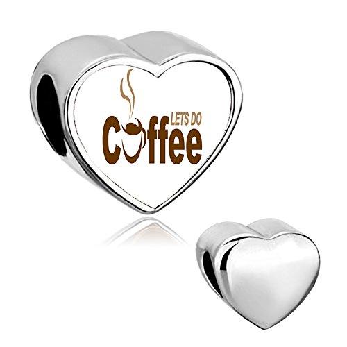 """Sug jasmin - charm a cuore con motivo e scritta """"caffè"""", ciondolo adatto per bracciali in stile europeo. e base metal, colore: coffee 2, cod. sjc_bphg4427_parent"""