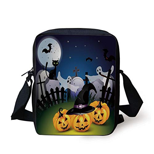oon Design with Pumpkins Witches Hat Ghosts Graveyard Full Moon Cat Decorative,Multicolor Print Kids Crossbody Messenger Bag Purse ()