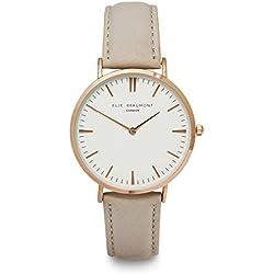 Elie Beaumont Quarz Damen Große Uhr mit weißem Zifferblatt Analog-Anzeige Oxford Große-Stone Nappa Leder eb805g Stein