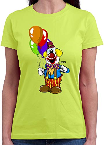 HARIZ  Damen T-Shirt Rundhals Clown Luftballons Fröhlich Karneval Kostüm Inkl. Geschenk Karte Hell Grün (Gruppe Karte Kostüm)
