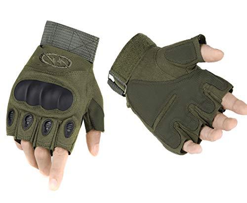 ThreeH Guantes tácticos Medio Dedo Militar de Goma, Guantes de nudillo Duro para Carreras, Senderismo GL07M,Green