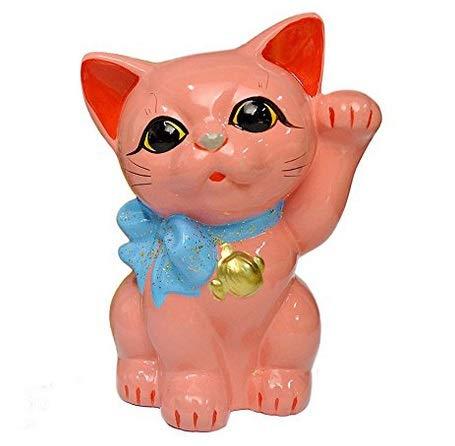 Tokoname Ware Lucky Cat 6.3'' Ribbon Maneki Neko (Sakura Pink) (Ribbon Ware Pink)