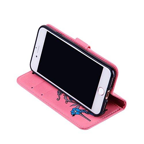 Custodia per iphone 7 4.7, iphone 8 Custodia Pelle, Cover iphone 7, Ekakashop Lusso Moda Glitter Sparkle Fiore e Tacchi alti Modello Disegno Design Portafoglio Bookstyle Folding Flip Cover in PU pelle Rosa