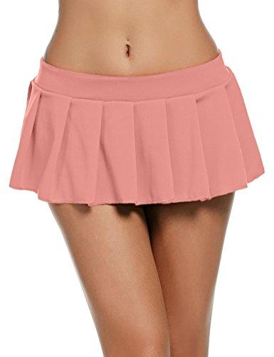 Pagacat Sexy Minirock, verführerisch Kurz Erotik Faltenrock Einfarbig Nachtwäsche für Gogo Party S-XL(M, Pink)